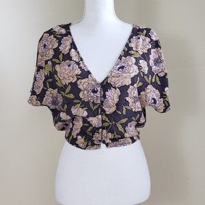 Anthropologie Leith Floral Crop Top Size XS